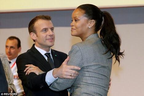 Rihana Posing With President Macron of France